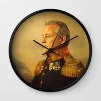 fashion illustration Wall Clocks featuring Bill Murray - replaceface by replaceface