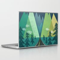 road Laptop & iPad Skins featuring The Long Road at Night by Jenny Tiffany