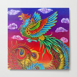 Colorful Fenghuang Chinese Phoenix Rainbow Bird Metal Print