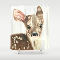 fawn Shower Curtains featuring fawn by Molly