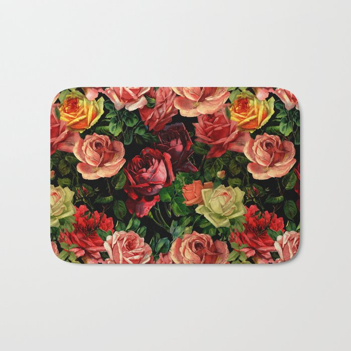 Vintage & Shabby-chic - floral roses flowers rose Bath Mat