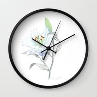 casablanca Wall Clocks featuring Lily 01 Botanical Flower * White Casablanca Lily by Antony Corso