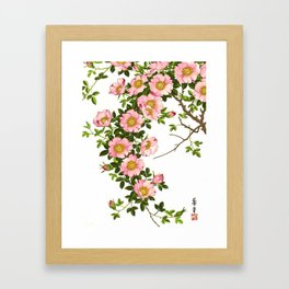 Vintage Japanese Cherry Blossoms, Pink and Gold Framed Art Print