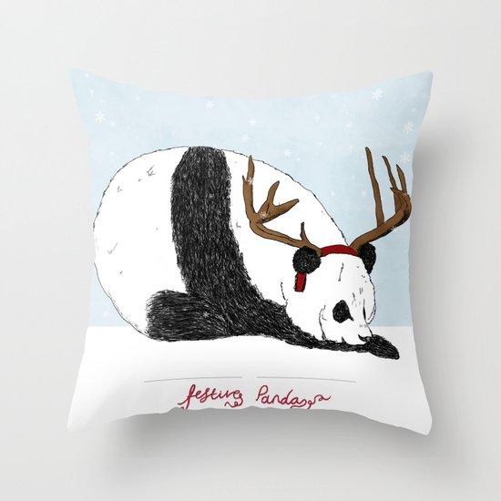 Festive Panda Throw Pillow