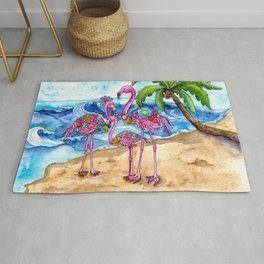 The Flamingo Family's Day at the Beach Rug