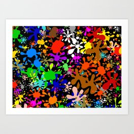 Colourful Fun Paint Blots and Stains Art Print