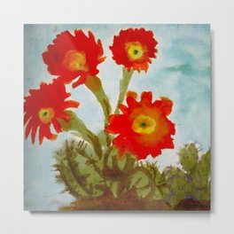 Red Epiphyllum Orchid Cactus still life painting by Emil Nolde Metal Print