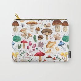Watercolor forest mushroom illustration and plants Carry-All Pouch