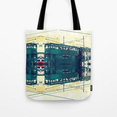 Tramway collage cityscape in Hong Kong Tote Bag