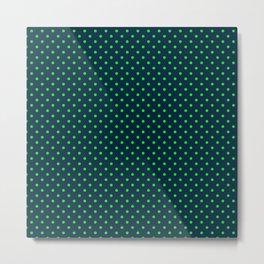 Mini Navy and Neon Lime Green Polka Dots Metal Print