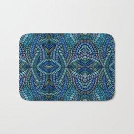 Blue Geometric Mosaic Bath Mat