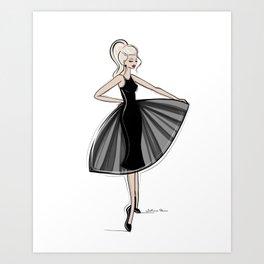 Little Black Panel Dress Art Print