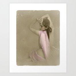 """Mattaharish"" - The Playful Pinup - Vintage Weathered Pinup Girl by Maxwell H. Johnson Art Print"