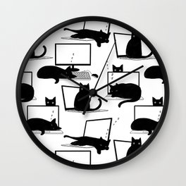 Cats Sitting on Laptops Wall Clock
