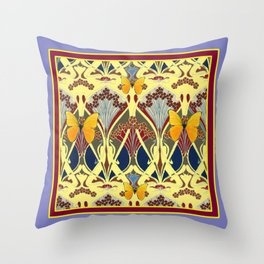 Decorative Yellow Art Nouveau Butterfly Maroon Designs Throw Pillow