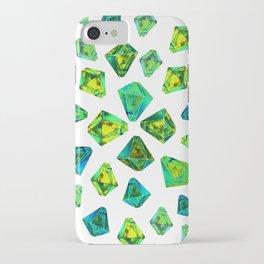 Green beautiful hand drawn gems. iPhone Case