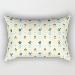 Pastel yellow brown green cactus floral dots summer pattern Rectangular Pillow