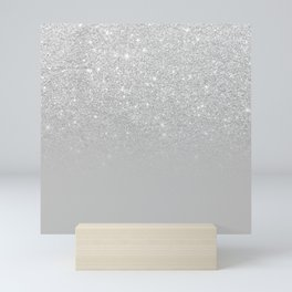 Trendy modern silver ombre grey color block Mini Art Print