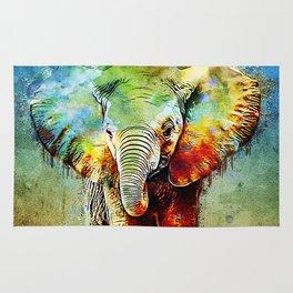 watercolor elephant Rug