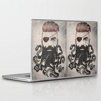 beard Laptop & iPad Skins featuring Black Beard by Vin Zzep