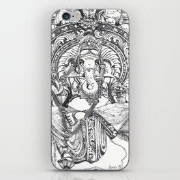 Genish black and white line drawing iPhone Skin