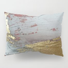 Darling [2]: a minimal, abstract mixed-media piece in pink, white, and gold by Alyssa Hamilton Art Pillow Sham