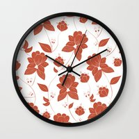 vintage floral Wall Clocks featuring Vintage Floral by She's That Wallflower