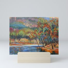 Around the Riverbend, autumn on the Delaware River, an impressionist landscape oil painting. Mini Art Print