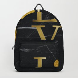 Love is a Four Letter Word - Black and Gold Backpack