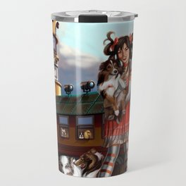 Gothic Lolita in the Shoe with Dogs Travel Mug