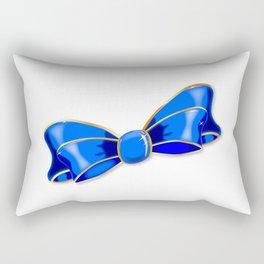 Blue Silk Bow Rectangular Pillow