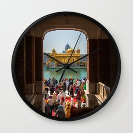 First View of the Golden Temple, India Wall Clock