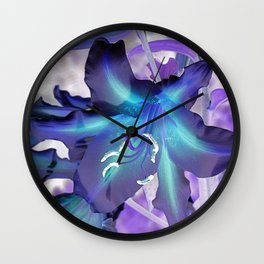 Contemporary Teal Aqua Lilac Lily Flower Art A120 Wall Clock