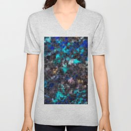 psychedelic geometric square pattern abstract background in blue pink and black Unisex V-Neck