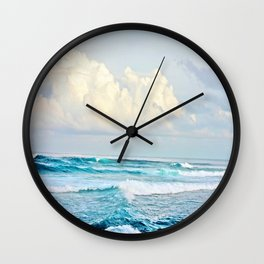 Blue Water Fluffy Clouds Wall Clock