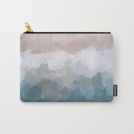 Turquoise Aqua Blue White Dusty Rose Pink Abstract Painting, Modern Wall Art Print, Ocean Sunset Sand Beach Aerial View Carry-All Pouch