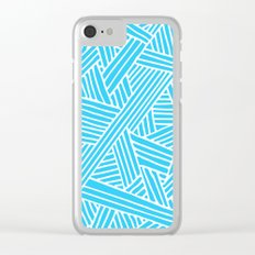 Abstract Teal & white Lines and Triangles Pattern-Mix and Match with Simplicity of Life on #Society6 Clear iPhone Case