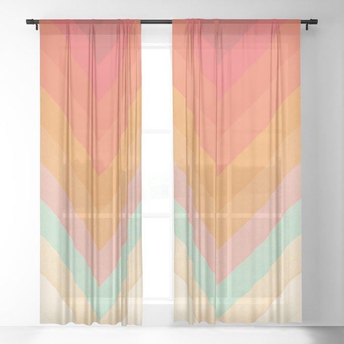 Rainbow Chevrons Sheer Curtain