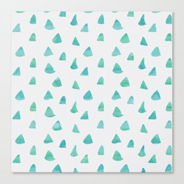 Geometrical teal green watercolor hand painted pattern Canvas Print