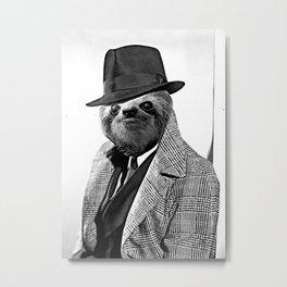 Gentleman Sloth with Coat - Cartoonized Metal Print