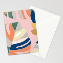 Monstera leaf Jungle mid century modern paper collage Stationery Cards