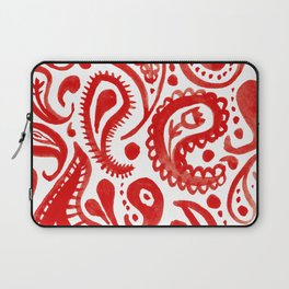 Handpainted Paisley Pattern Red Color Laptop Sleeve