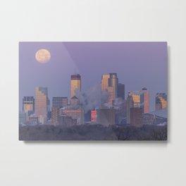 Supermoon Setting over Minneapolis Illuminated by Dawn Metal Print