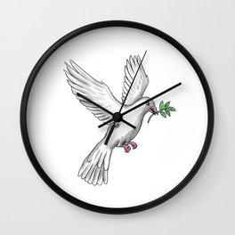 Dove Olive Leaf Tattoo Wall Clock