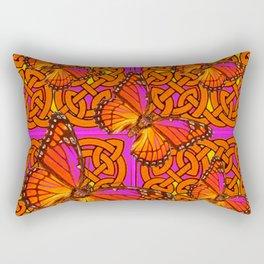 ORANGE MONARCH BUTTERFLIES CELTIC ART VIOLET COLOR Rectangular Pillow