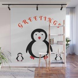 Penguins Greetings Wall Mural