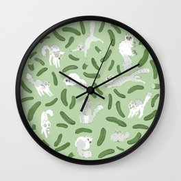 Cats And Cukes - Green Version Wall Clock