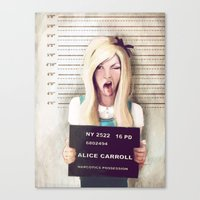 alice wonderland Canvas Prints featuring Alice by adroverart