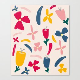 Elegant Floral Pattern on Pink Beige Canvas Print