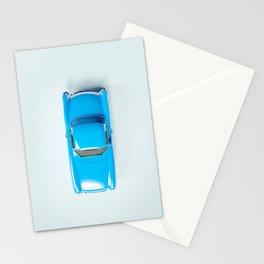 Vintage Blue Car on White Stationery Cards